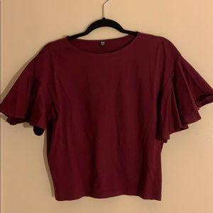 Dark Wine color Flare sleeve cotton shirt